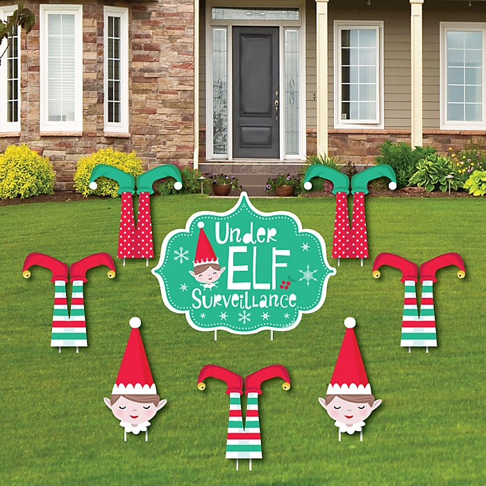 Elf Squad - Yard Sign & Outdoor Lawn Decorations - Kids Elf Christmas and Birthday Party Yard Signs - Set of 8