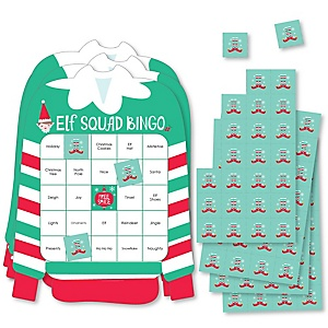 Elf Squad - Bingo Cards and Markers - Kids Elf Christmas and Birthday Party Shaped Bingo Game - Set of 18