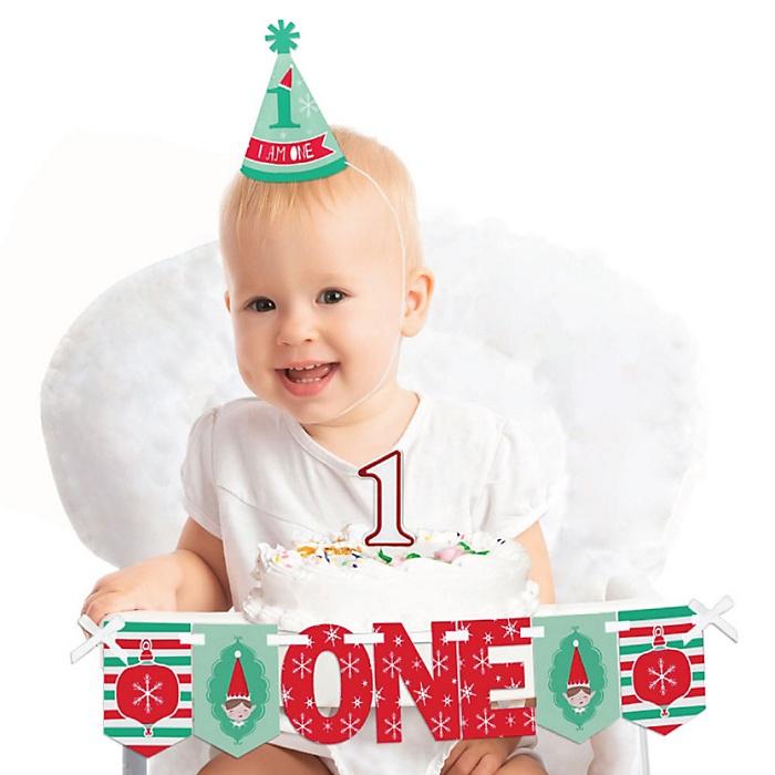 Elf Squad 1st Birthday - First Birthday Boy or Girl Smash Cake Decorating Kit - High Chair Decorations