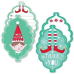 Elf Squad - 20 Shaped Fill-In Invitations and 20 Shaped Thank You Cards Kit - Kids Elf Christmas and Birthday Party Stationery Kit - 40 Pack