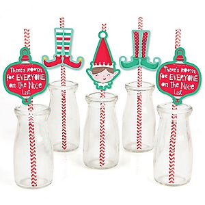 Elf Squad - Kids Elf Christmas and Birthday Party Paper Straw Decor - Party Striped Decorative Straws - Set of 24