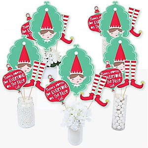 Elf Squad - Kids Elf Christmas and Birthday Party Centerpiece Sticks - Table Toppers - Set of 15