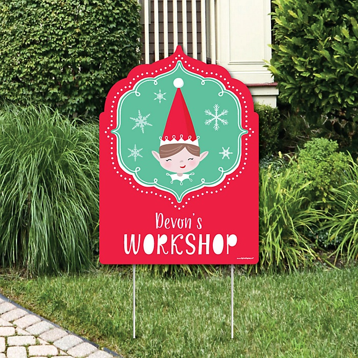Elf Squad - Party Decorations - Kids Elf Christmas and Birthday Party Personalized Welcome Yard Sign
