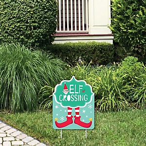 Elf Squad - Outdoor Lawn Sign - Kids Elf Christmas and Birthday Party Yard Sign - 1 Piece