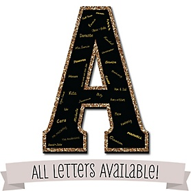 "Signature Letters - Guest Book Sign Letters - 21"" Foam Board Guestbook Alternative - Black with Gold Monogram Letters"