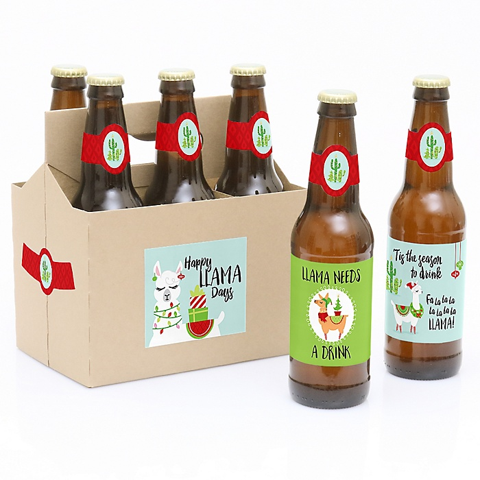 Fa La Llama - Decorations for Women and Men - 6 Christmas and Holiday Party Beer Bottle Label Stickers and 1 Carrier