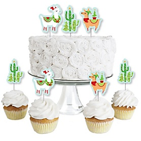 Fa La Llama - Dessert Cupcake Toppers - Christmas and Holiday Party Clear Treat Picks - Set of 24