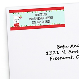 Fa La Llama - Personalized Christmas and Holiday Party Return Address Labels - 30 ct