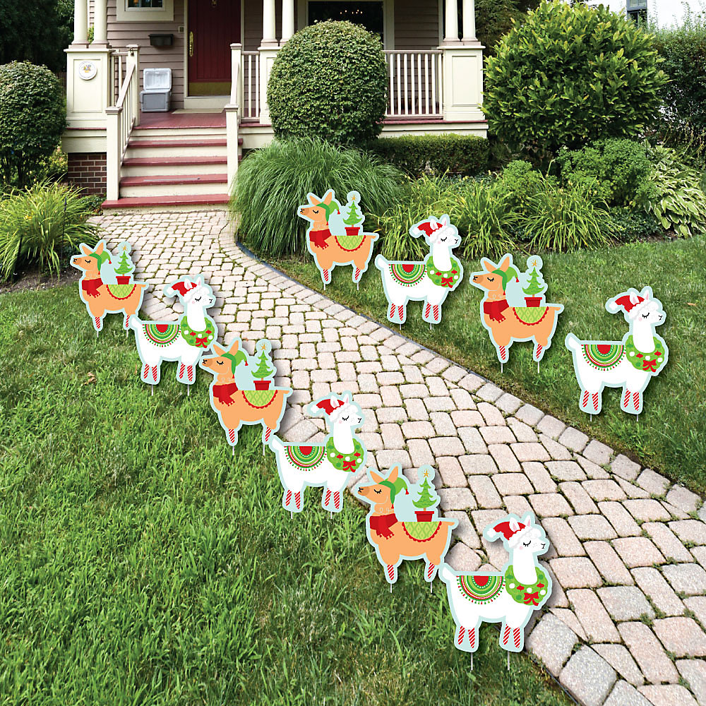 Llama Christmas Decorations.Fa La Llama Lawn Decorations Outdoor Christmas And Holiday Party Yard Decorations 10 Piece