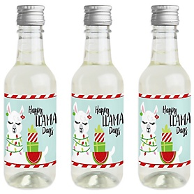 Fa La Llama - Mini Wine and Champagne Bottle Label Stickers - Christmas and Holiday Party Favor Gift - For Women and Men - Set of 16