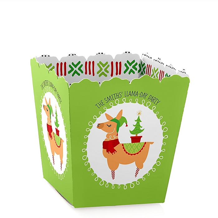 Fa La Llama - Party Mini Favor Boxes - Personalized Christmas and Holiday Party Treat Candy Boxes - Set of 12