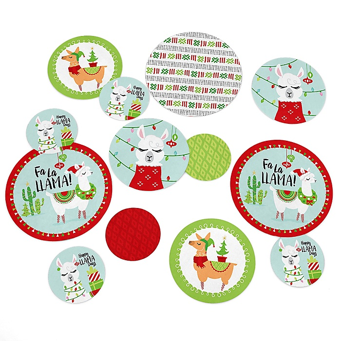 Fa La Llama - Christmas and Holiday Party Giant Circle Confetti - Party Decorations - Large Confetti 27 Count