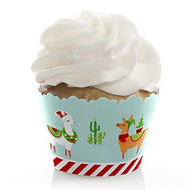 Fa La Llama - Christmas and Holiday Party Decorations - Party Cupcake Wrappers - Set of 12