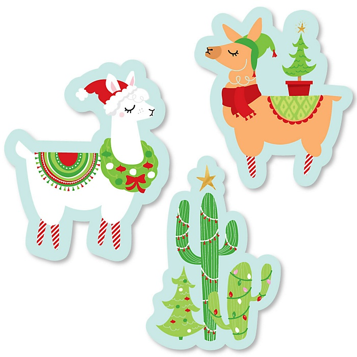 Fa La Llama - DIY Shaped Christmas and Holiday Party Cut-Outs - 24 ct