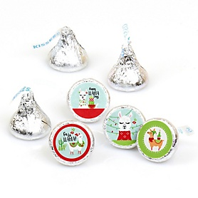 Fa La Llama - Christmas and Holiday Party Round Candy Sticker Favors - Labels Fit Hershey's Kisses  - 108 ct