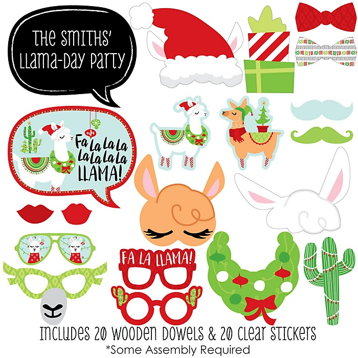 Fa La Llama - 20 Piece Christmas and Holiday Party Photo Booth Props Kit