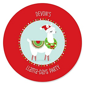 Fa La Llama - Personalized Christmas and Holiday Party Sticker Labels - 24 ct