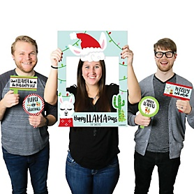 Fa La Llama - Personalized Christmas and Holiday Party Photo Booth Picture Frame & Props - Printed on Sturdy Material
