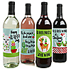 Fa La Llama - Christmas and Holiday Party Wine Bottle Label Stickers - Set of 4