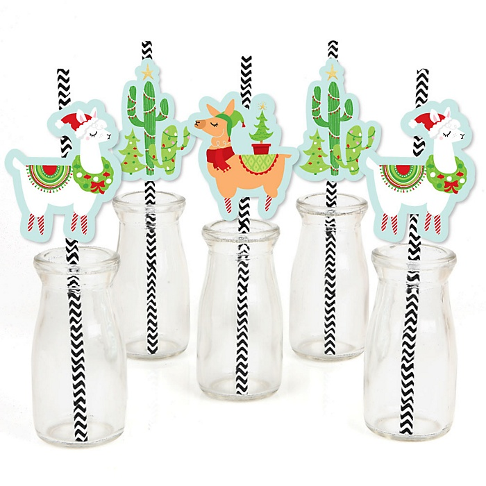 Fa La Llama - Paper Straw Decor - Christmas and Holiday Party Striped Decorative Straws - Set of 24