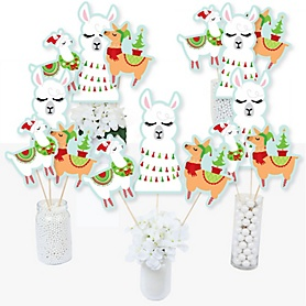 Fa La Llama - Christmas and Holiday Party Centerpiece Sticks - Table Toppers - Set of 15