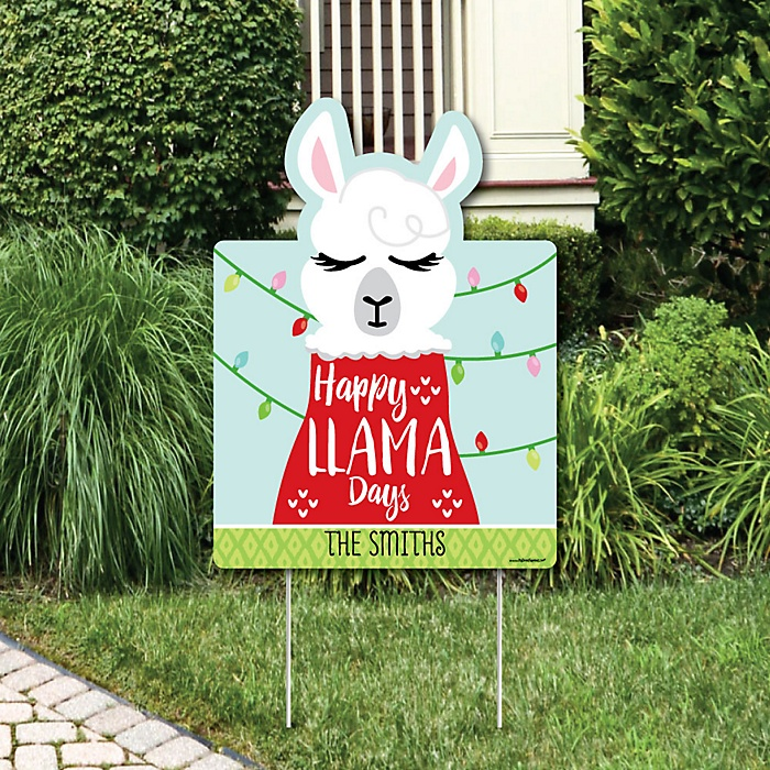 Fa La Llama - Party Decorations - Christmas and Holiday Party Personalized Welcome Yard Sign