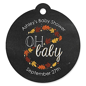 Oh Baby - Fall - Round Personalized Baby Shower Tags - 20 ct