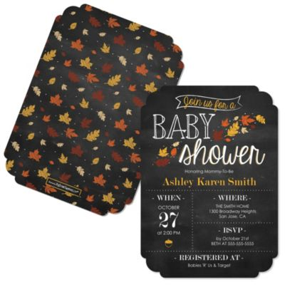 Oh Baby   Fall   Shaped Baby Shower Invitations