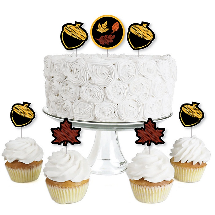 Fall Leaves - Dessert Cupcake Toppers - Fall Party Clear Treat Picks - Set of 24