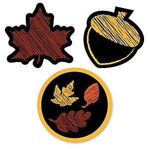 Fall Leaves - DIY Shaped Party Paper Cut-Outs - 24 ct