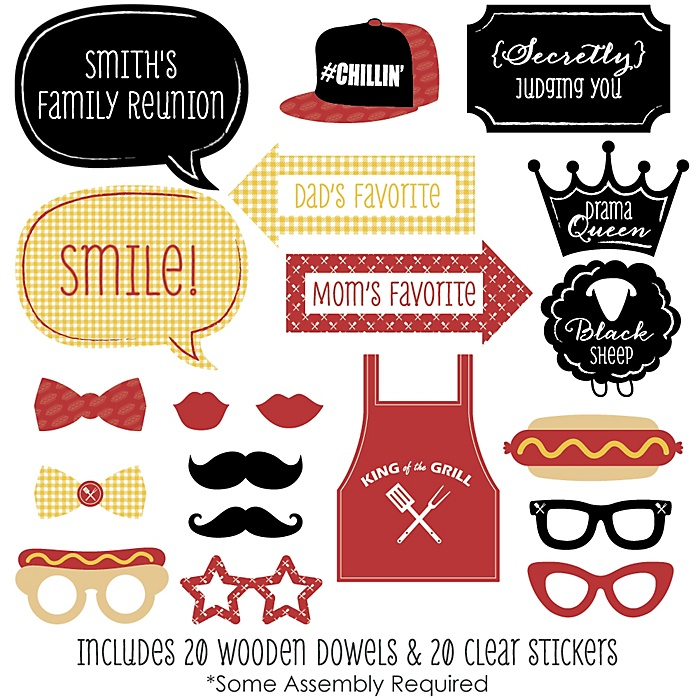 Family Reunion - Summer - 20 Piece Photo Booth Props Kit