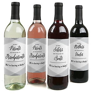 Family Pregnancy Announcement Decorations for Women and Men - Wine Bottle Labels - Set of 4
