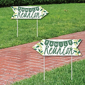 Family Tree Reunion - Family Gathering Party Sign Arrow - Double Sided Directional Yard Signs - Set of 2