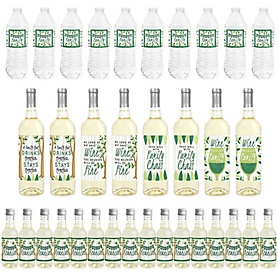 Family Tree Reunion - Mini Wine Bottle Labels, Wine Bottle Labels and Water Bottle Labels - Family Gathering Party Decorations - Beverage Bar Kit - 34 Pieces
