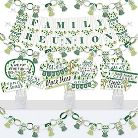 Family Tree Reunion - Banner and Photo Booth Decorations - Family Gathering Party Supplies Kit - Doterrific Bundle