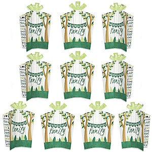 Family Tree Reunion - Table Decorations - Family Gathering Party Fold and Flare Centerpieces - 10 Count