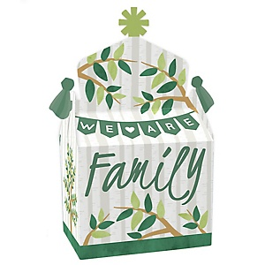 Family Tree Reunion - Treat Box Party Favors - Family Gathering Party Goodie Gable Boxes - Set of 12