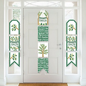 Family Tree Reunion - Hanging Vertical Paper Door Banners - Family Gathering Party Wall Decoration Kit - Indoor Door Decor
