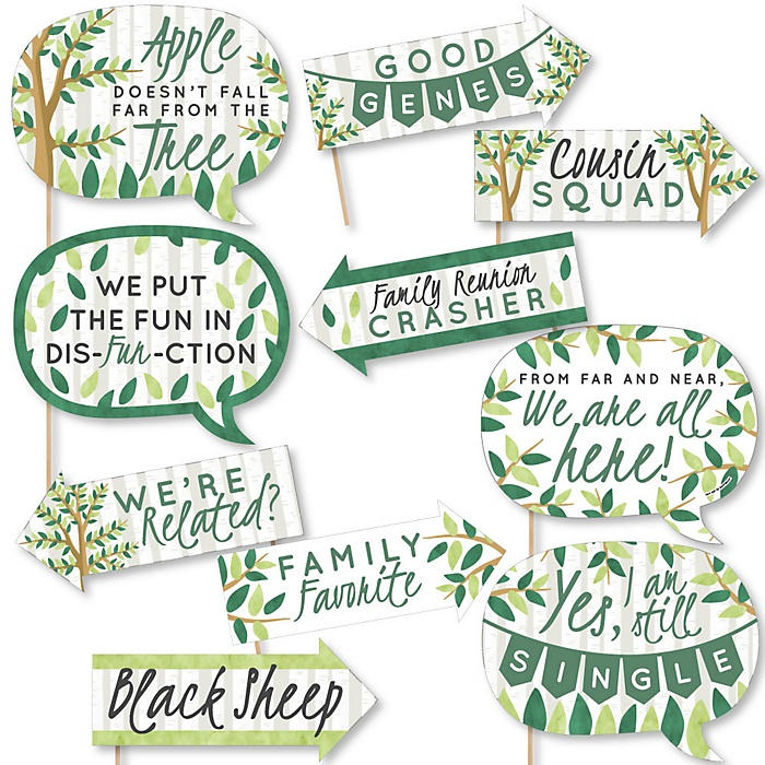 Funny Family Tree Reunion - 10 Piece Photo Booth Props Kit