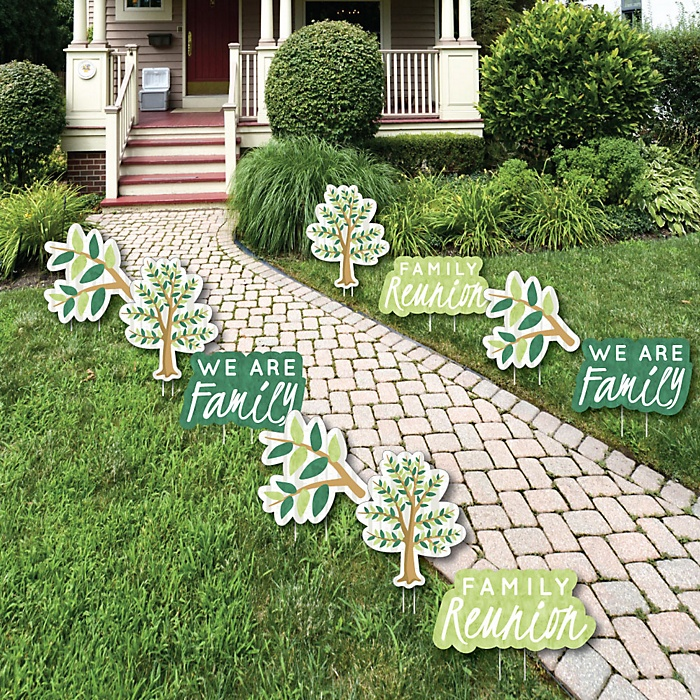 Family Tree Reunion - Family Gathering Party Lawn Decorations - Outdoor Yard Art Decorations - 10 Piece