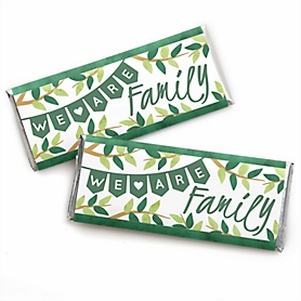 Family Tree Reunion -  Candy Bar Wrapper Family Gathering Party Favors - Set of 24