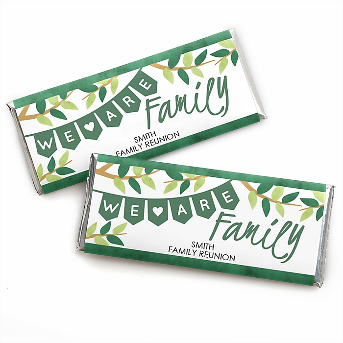 Family Tree Reunion - Personalized Candy Bar Wrapper Family Gathering Party Favors - Set of 24
