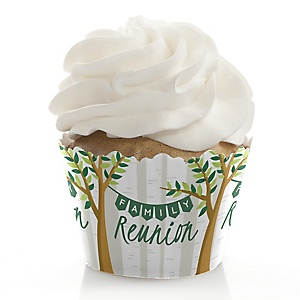 Family Tree Reunion - Family Gathering Party Decorations - Party Cupcake Wrappers - Set of 12