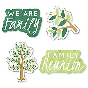 Family Tree Reunion - DIY Shaped Family Gathering Party Cut-Outs - 24 ct