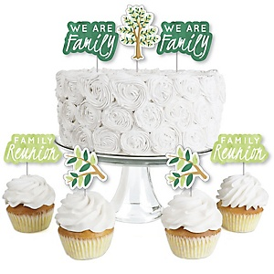 Family Tree Reunion - Dessert Cupcake Toppers - Family Gathering Party Clear Treat Picks - Set of 24