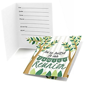 Family Tree Reunion - Set of 8 Fill In Family Gathering Party Invitations