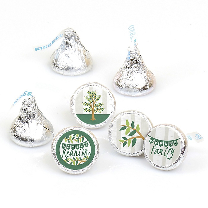 Family Tree Reunion - Round Candy Labels Family Gathering Party Favors - Fits Hershey's Kisses - 108 ct