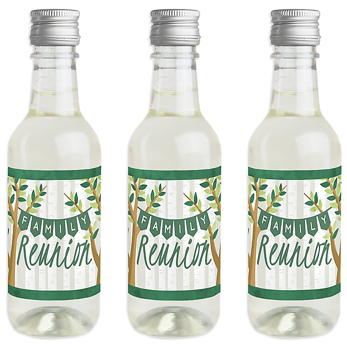 Family Tree Reunion - Mini Wine and Champagne Bottle Label Stickers - Family Gathering Party Favor Gift for Women and Men - Set of 16