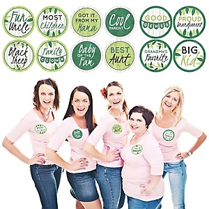 Family Tree Reunion - Family Gathering Party Funny Name Tags - Party Badges Sticker Set of 12