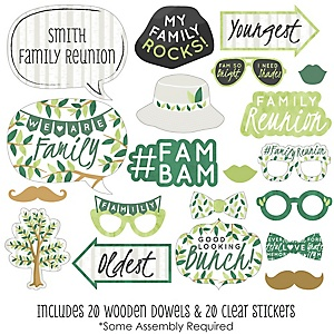Family Tree Reunion - 20 Piece Family Gathering Party Photo Booth Props Kit